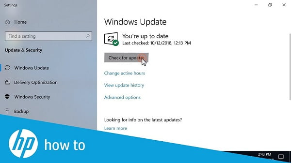Update the Windows 10 (Check for updates) - Screenshot
