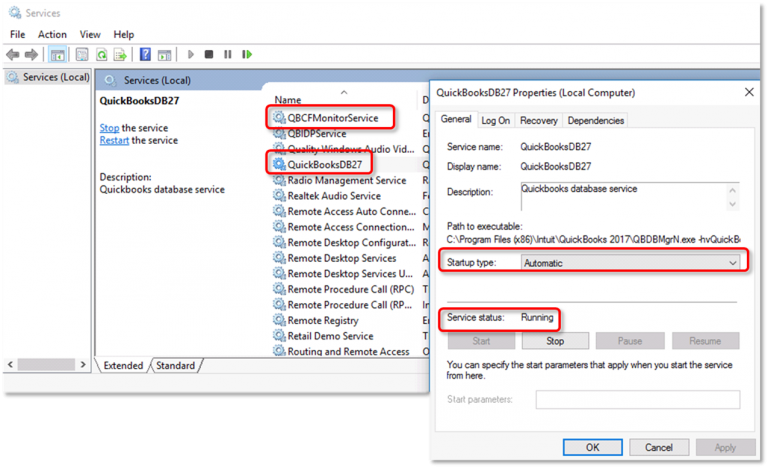 Verify the QuickBooks Services - Screenshot