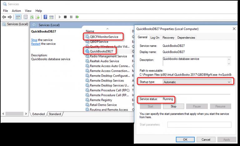 Verify the QuickBooks Services - Screenshot