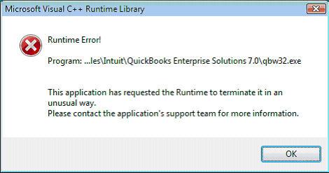 C runtime error in quickbooks - Screenshot