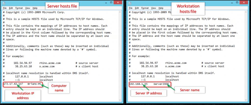 edit the hosts file - screenshot