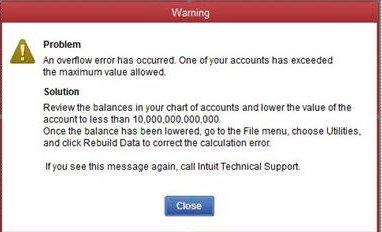 overflow error in quickbooks desktop