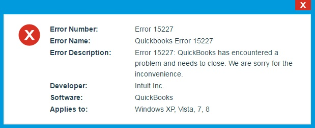 quickbooks error code 15227