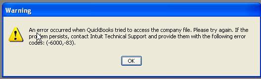 quickbooks error message 6000-83 screenshot