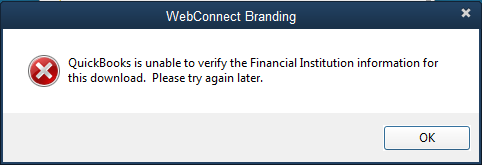 QuickBooks Unable to Verify Financial Institution Message - Screenshot
