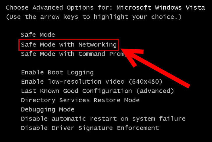 Safe mode with networking - Screenshot
