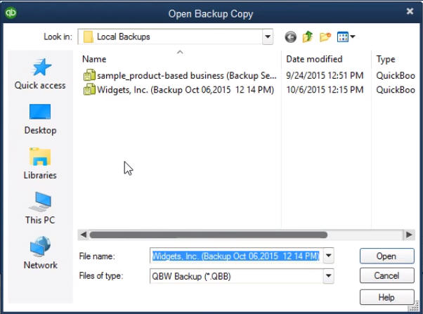 select the backup file from folder and give it a name