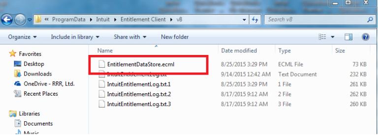 Delete the 'EntitlementDataStore.ecml'-file - Screenshot