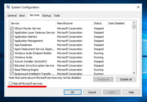 Hide all Microsoft Service - Screenshot