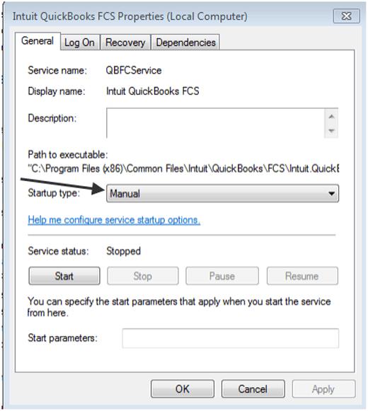 Intuit QuickBooks FSC properties (Local Computer)- Screenshot