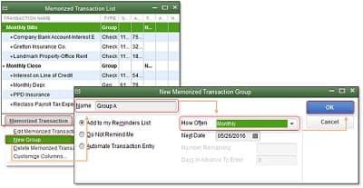 Memorized Transaction - Screenshot