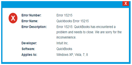 QuickBooks Error Message 15215 - Screenshot
