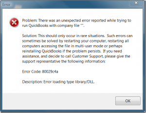 QuickBooks error message 80029c4a - Screenshot