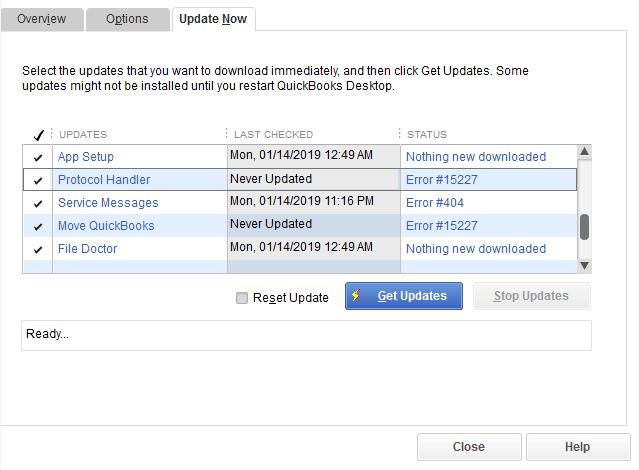 qb desktop 2019 update errors - screenshot