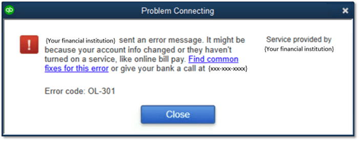quickbooks error code 301 - screenshot