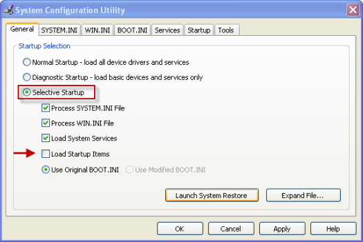 system configuration utility settings - Screenshot