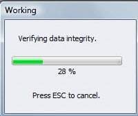 verifying the data integrity - screenshot