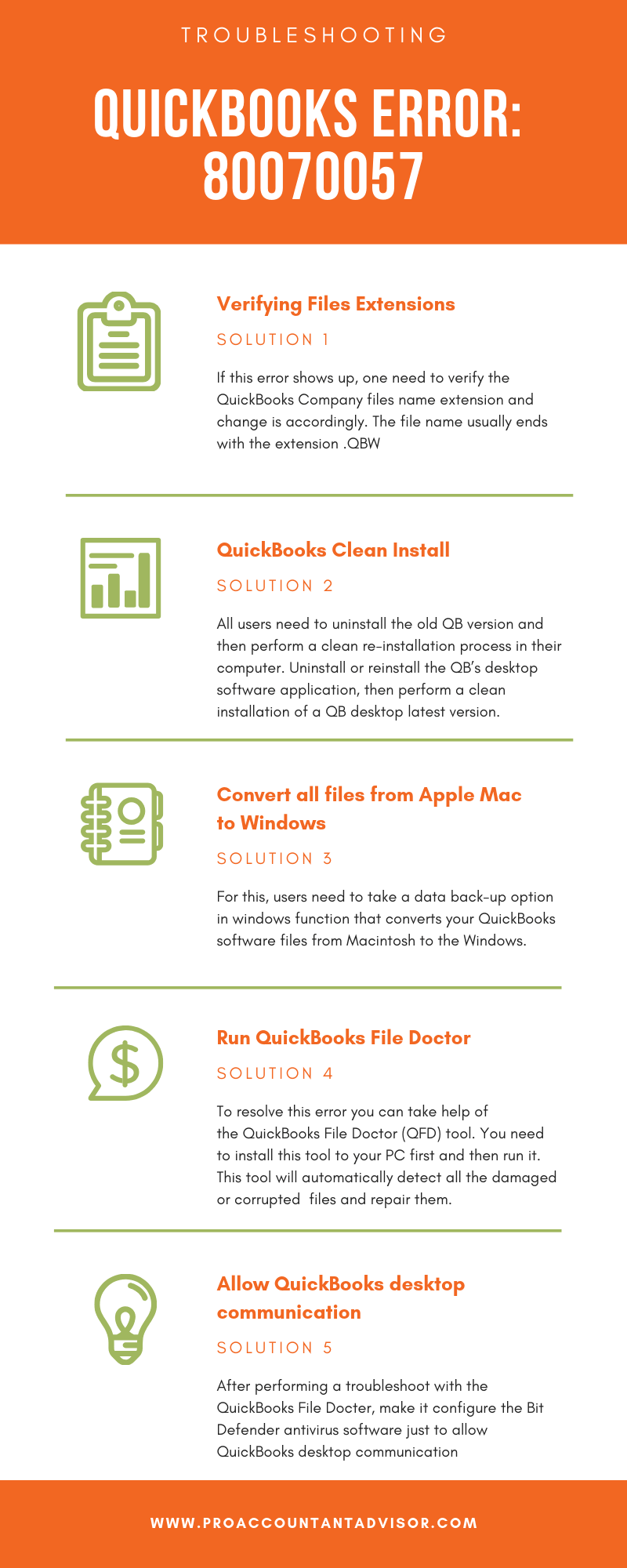 5 Easy Steps to Fix QuickBooks Error Code 80070057- Infographic