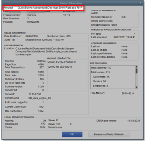 How to update quickbooks - Product information (Screenshot)