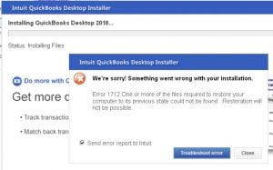 QuickBooks Error Message 1712 - Screenshot