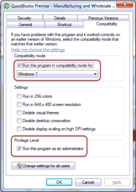 Run QuickBooks on Compatibility Mode - Screenshot