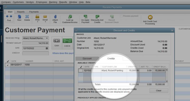 Transfer Credit Between Jobs of the Same Customer - New Features in QuickBooks Desktop 2019