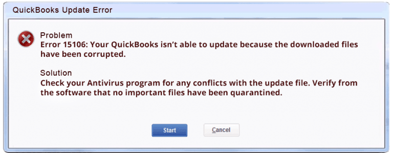 quickbooks error code 15106 - screenshot