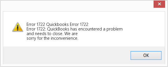 quickbooks error code 1722 - Screenshot