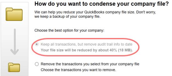 Condense the QuickBooks Company file - Screenshot