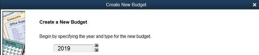 Create a New Budget - Screenshot