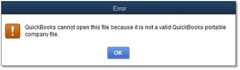 Error -Cannot Open QuickBooks Portable Company File - Screenshot