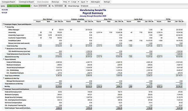 Payroll reports in QuickBooks - Screenshot