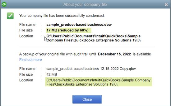 QuickBooks Condense Process Successful Message - Screenshot