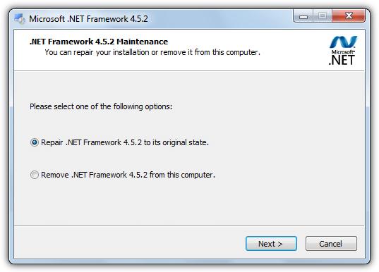 Repair or Reinstall Microsoft.Net Framework - Screenshot