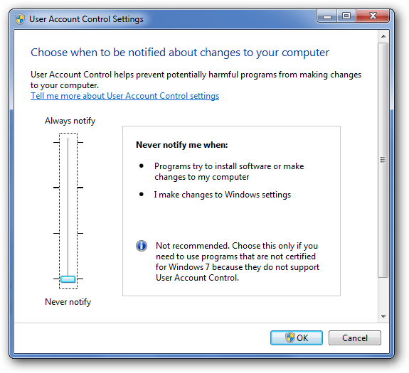 Turn Off UAC in Windows - Screenshot