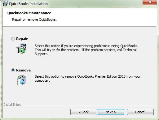 Uninstall Repair th QuickBooks Desktop - Screenshot