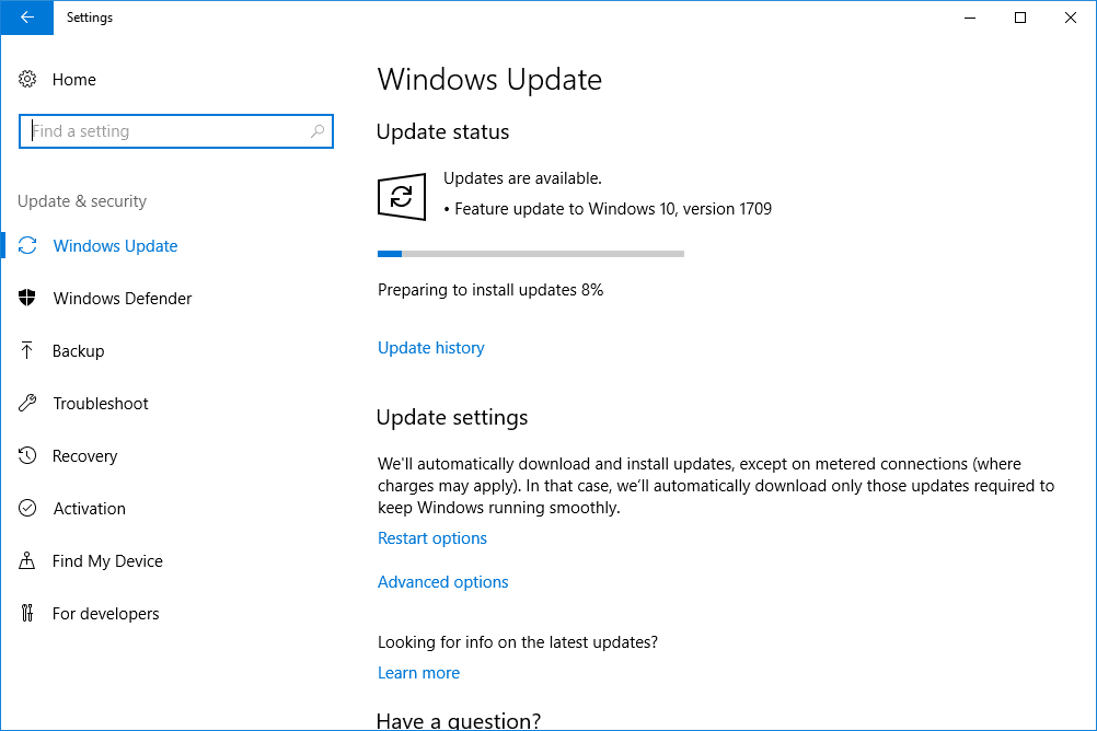 Windows Update Screen - Screenshot