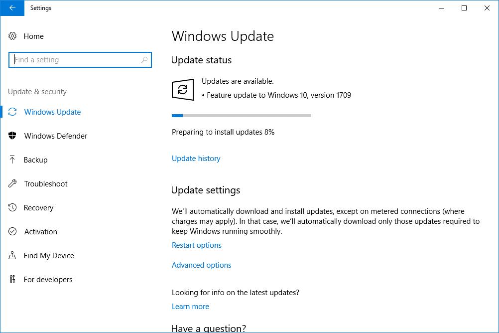 Windows Update Screen - Screenshot