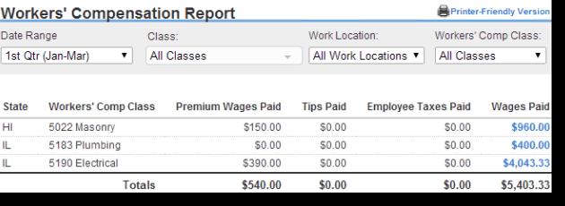 Workers Compensation report - Screenshot