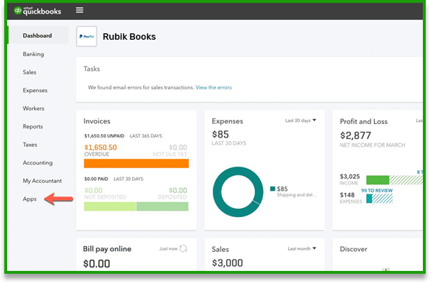 Connect QuickBooks Online to PayPal app - Screenshot
