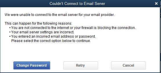 Could not connect to the email server - Screenshot