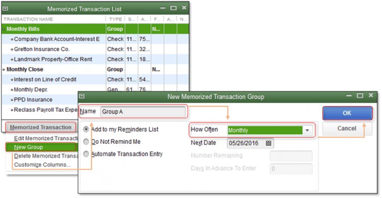 Creating memorized transaction group - Screenshot