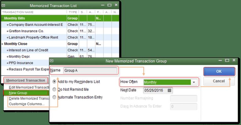 Creating memorized transaction group - Screenshot