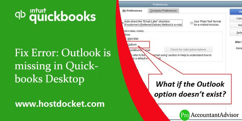Fix Error Outlook is missing in Quickbooks Desktop