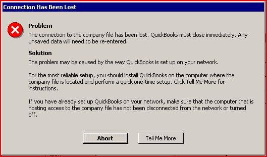 QuickBooks Abort Error - Screenshot