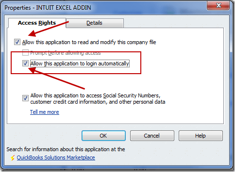 QuickBooks Export to Excel error - Screenshot
