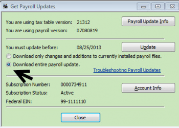 QuickBooks Payroll Tax Updates - Screenshot