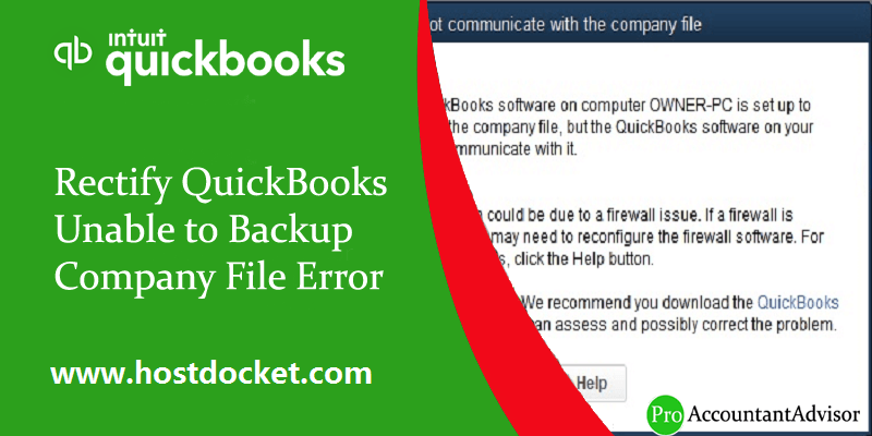 Rectify QuickBooks Unable to Backup Company File Error