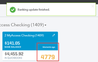 Running a manual update on your bank account 2- Screenshot
