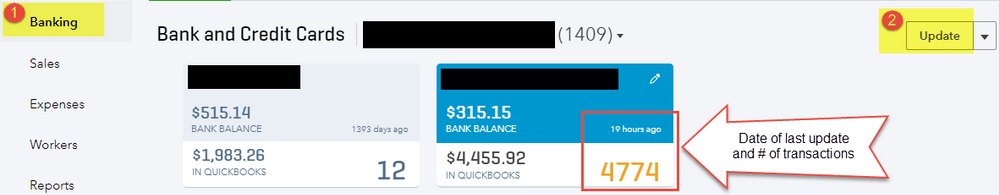 running a manual update on your bank account - Screenshot